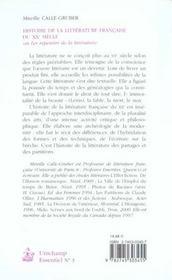 Histoire De La Litterature Francaise Du Xx Siecle Ou Les Repentirs De La Litterature - 4ème de couverture - Format classique