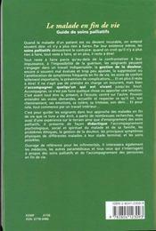 Le Malade En Fin De Vie Guide De Soins Palliatifs - 4ème de couverture - Format classique
