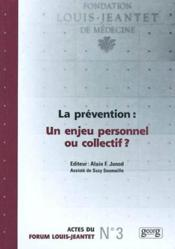 Prevention ; Un Enjeu Personnel Ou Collectif - Couverture - Format classique