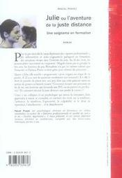 Julie Ou L Aventure De La Juste Distance Recit D Une Soignante En Formation - 4ème de couverture - Format classique