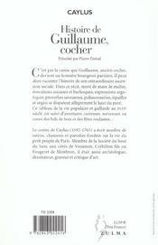 Histoire De Guillaume Cocher - 4ème de couverture - Format classique