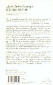 Guide Triste De Paris - 4ème de couverture - Format classique