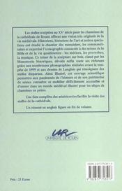 Les Stalles De La Cathedrale De Rouen. Histoire Et Iconographie - 4ème de couverture - Format classique