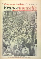 France Nouvelle N°852 du 14/02/1962 - Couverture - Format classique