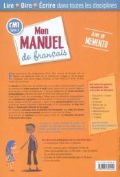 Cm1; Mon Manuel De Francais - 4ème de couverture - Format classique