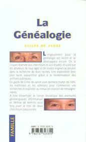La Genealogie - 4ème de couverture - Format classique