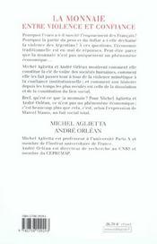 La Monnaie : Entre Violence Et Confiance - 4ème de couverture - Format classique