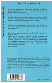 Chants De Gravite - 4ème de couverture - Format classique
