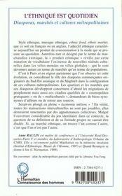 L'Ethnique Est Quotidien ; Diasporas Marches Et Cultures Metropolitaines - 4ème de couverture - Format classique