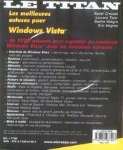Les meilleures astuces pour windows vista - 4ème de couverture - Format classique