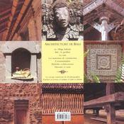 Architecture De Bali - 4ème de couverture - Format classique