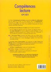 Compétences lecture ; CP/CE1 ; fichier photocopiable d'entraînement différencié - 4ème de couverture - Format classique