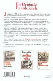 La Brigade Frankreich - Le Premier Combat Des Ss Francais - 4ème de couverture - Format classique