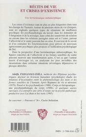 Recits De Vie Et Crises D'Existence ; Une Hermeneutique Metamorphique - 4ème de couverture - Format classique