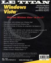 Windows vista - 4ème de couverture - Format classique
