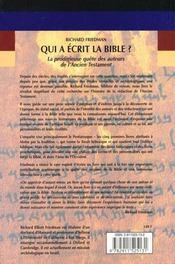 Qui a ecrit la bible - 4ème de couverture - Format classique