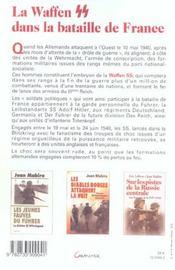 La Waffen Ss Dans La Bataille De France - Mai-Juin 1940 - 4ème de couverture - Format classique