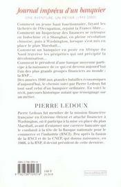Journal Imprevu D'Un Banquier - 4ème de couverture - Format classique