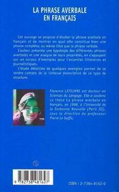 La phrase averbale en français - 4ème de couverture - Format classique