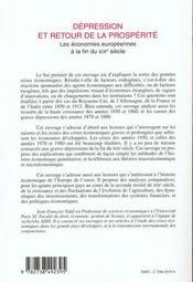 Depression Et Retour De La Prosperite ; Les Economies Europeennes A La Fin Du Xix Siecle - 4ème de couverture - Format classique