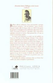 Dernières lettres d'Afrique et du Levant (1940-41) - 4ème de couverture - Format classique
