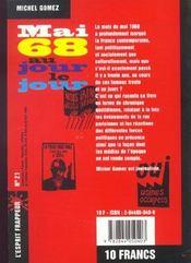 Mai 68 Au Jour Le Jour - 4ème de couverture - Format classique
