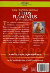 Titus Flaminius t.4 ; la piste gauloise - 4ème de couverture - Format classique
