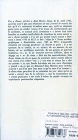 Journaux 1920-1922 - notes autobiographiques 1920-1954 - 4ème de couverture - Format classique