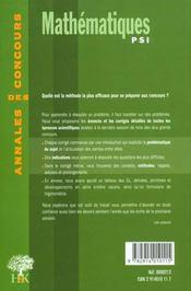 Annales H & K 2000 Mathematiques Psi - 4ème de couverture - Format classique