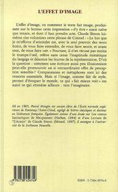 L'Effet D'Image ; Essai Sur Claude Simon - 4ème de couverture - Format classique