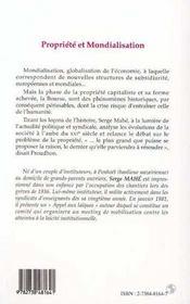 Propriete Et Mondialisation - 4ème de couverture - Format classique