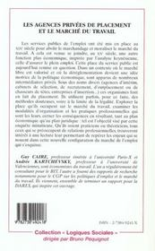 Les Agences Privees De Placement Et Le Marche Du Travail - 4ème de couverture - Format classique