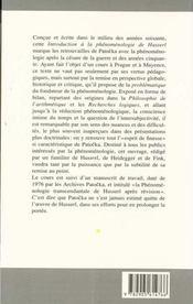 Introduction A La Phenomenologie De Husserl - 4ème de couverture - Format classique