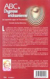 Abc de l'hypnose ericksonienne - 4ème de couverture - Format classique