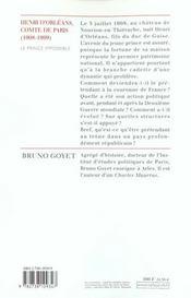 Henri D'Orleans, Comte De Paris (1908-1999) - 4ème de couverture - Format classique