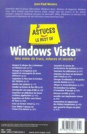 Windows Vista. les meilleurs trucs, astuces et secrets rigoureusement sélectionnés - 4ème de couverture - Format classique