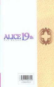 Alice 19th t.6 - 4ème de couverture - Format classique