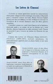 Les Lettres De Chmouni - 4ème de couverture - Format classique
