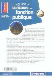 Le guide des concours de la fonction publique (édition 2005-2006) - 4ème de couverture - Format classique