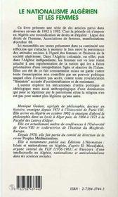 Le Nationalisme Algerien Et Les Femmes - 4ème de couverture - Format classique