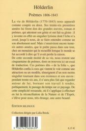 Poèmes, 1806-1843 - 4ème de couverture - Format classique