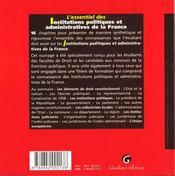 Essentiel des institutions politiques adm.france - 4ème de couverture - Format classique