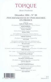 Topique N 88 Psychanalystes Et Psychiatres - 4ème de couverture - Format classique