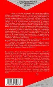 La Cooperation Contractuelle Et Le Gouvernement Des Villes - 4ème de couverture - Format classique