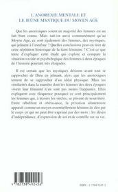 L'Anorexie Mentale Et Le Jeune Mystique Du Moyen Age ; Faim Foi Et Pouvoir - 4ème de couverture - Format classique