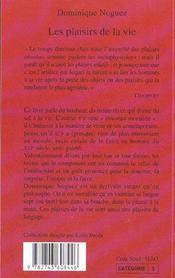 Les Plaisirs De La Vie - 4ème de couverture - Format classique
