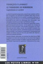 Le Paradoxe De Robinson - 4ème de couverture - Format classique