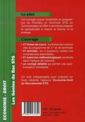 Les génies du bac stg ; économie droit - 4ème de couverture - Format classique