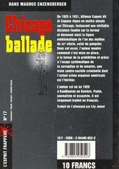 Chicago Ballade - 4ème de couverture - Format classique