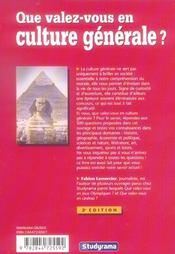 Que Valez-Vous En Culture Generale ? - 4ème de couverture - Format classique